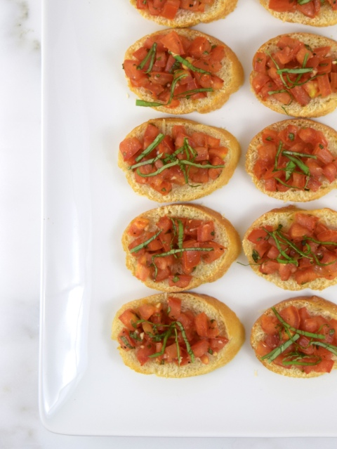 Tomato Basil Crostini with Parmesan Cheese