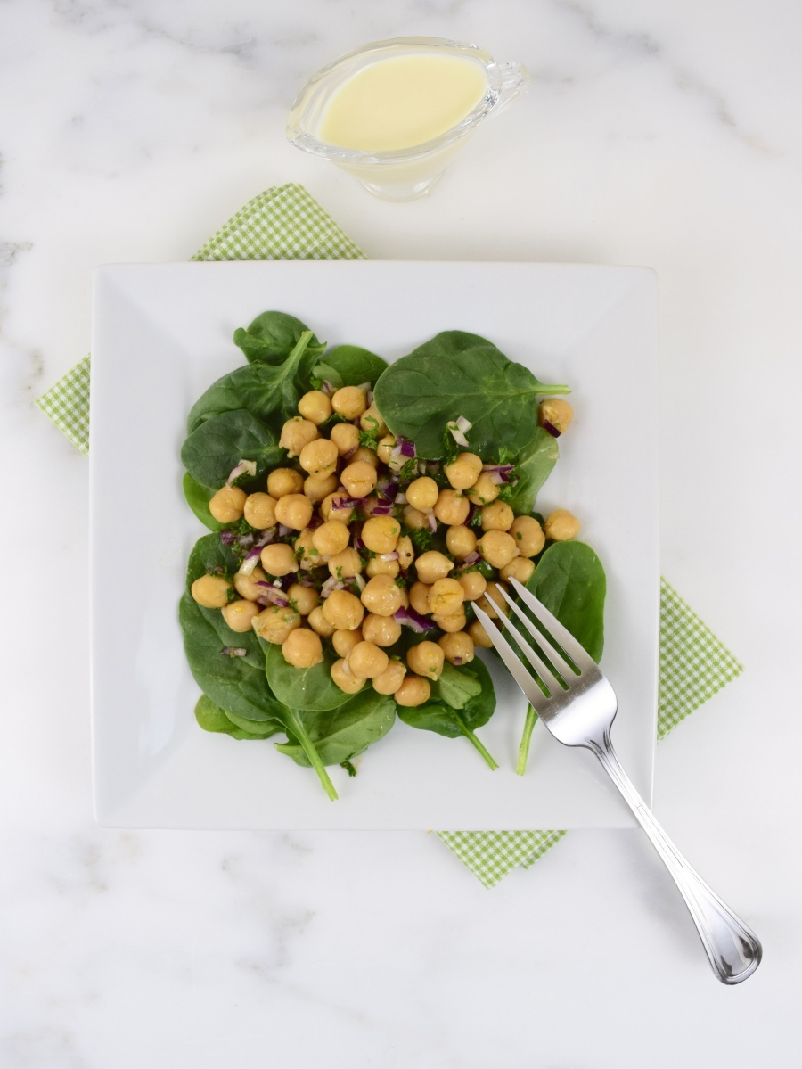 Garbanzo Bean and Spinach Salad with Cumin Dressing | Simple and ...
