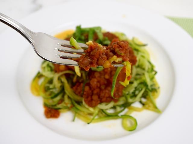 Lentil Marinara with Zucchini Spaghetti