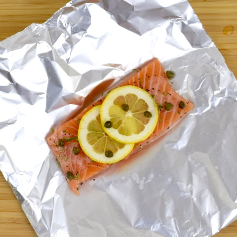 Salmon with Lemon, Capers, & Rosemary