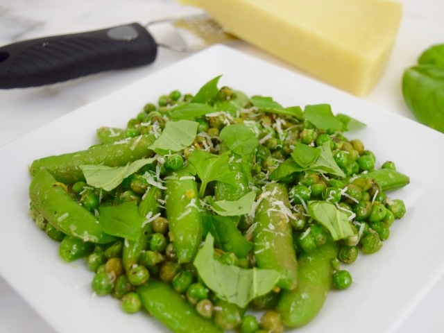 Sautéed Garden Peas with Basil and Pecorino Cheese